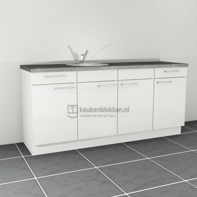 Keukenblok met spoelbak links met lades 2.00 m breed - Alpine wit hoogglans