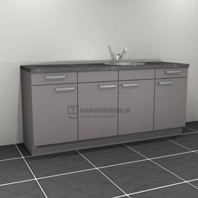Keukenblok met spoelbak rechts met lades 2.20 m breed - Onyx grijs
