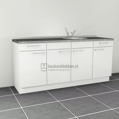 Keukenblok met spoelbak rechts met lades 2.00 m breed - Alpine wit hoogglans