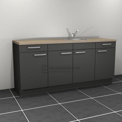Keukenblok met spoelbak rechts met lades 2.00 m breed - Carbon zwart