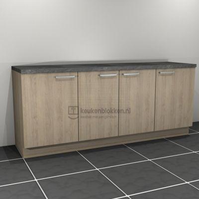 Keukenblok zonder spoelbak 2.20 m breed - Eiken zand
