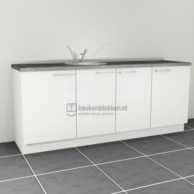 Keukenblok met spoelbak links 2.20 m breed - Alpine wit