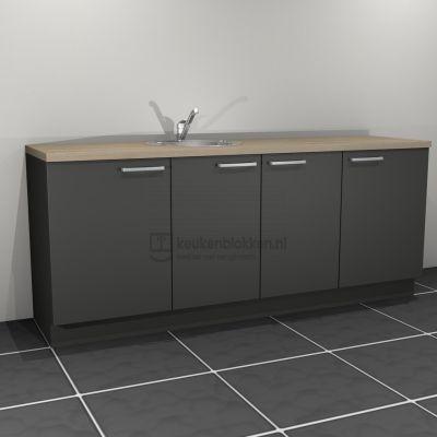 Keukenblok met spoelbak links 2.20 m breed - Carbon zwart