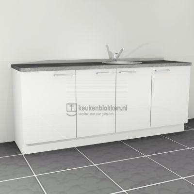 Keukenblok met spoelbak rechts 2.20 m breed - Alpine wit hoogglans