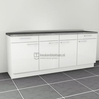 Keukenblok zonder spoelbak met lades 2.20 m breed - Alpine wit hoogglans