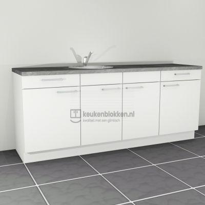 Keukenblok met spoelbak links met lades 2.20 m breed - Alpine wit