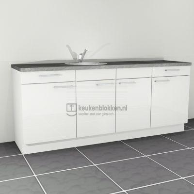 Keukenblok met spoelbak links met lades 2.20 m breed - Alpine wit hoogglans