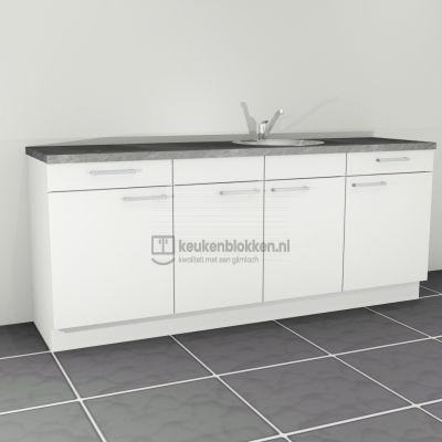 Keukenblok met spoelbak rechts met lades 2.20 m breed - Alpine wit