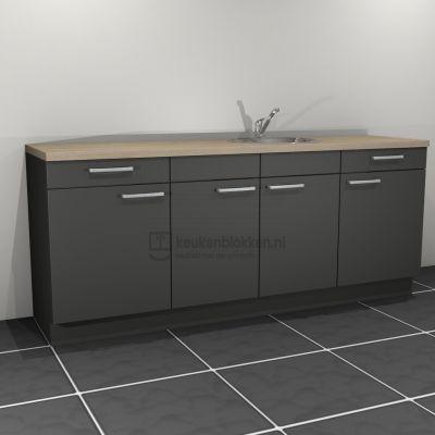 Keukenblok met spoelbak rechts met lades 2.20 m breed - Carbon zwart