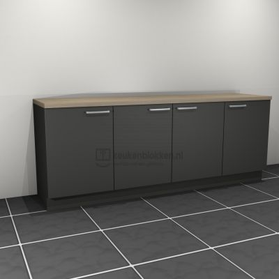 Keukenblok zonder spoelbak 2.40 m breed - Carbon zwart