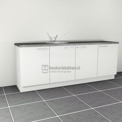 Keukenblok met spoelbak links 2.40 m breed - Alpine wit