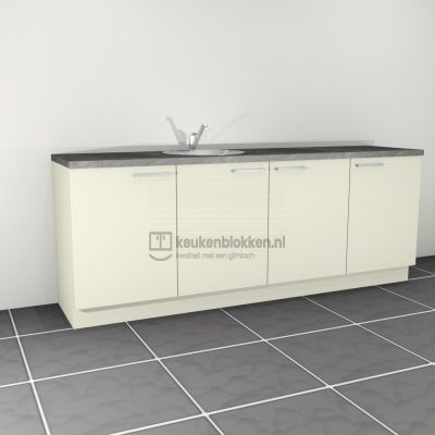 Keukenblok met spoelbak links 2.40 m breed - Magnolia