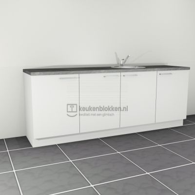 Keukenblok met spoelbak rechts 2.40 m breed - Alpine wit