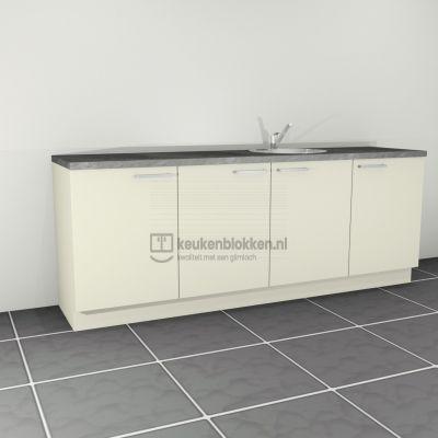 Keukenblok met spoelbak rechts 2.40 m breed - Magnolia