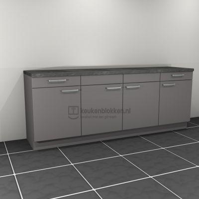 Keukenblok zonder spoelbak met lades 2.40 m breed - Onyx grijs