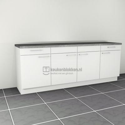Keukenblok zonder spoelbak met lades 2.40 m breed - Alpine wit