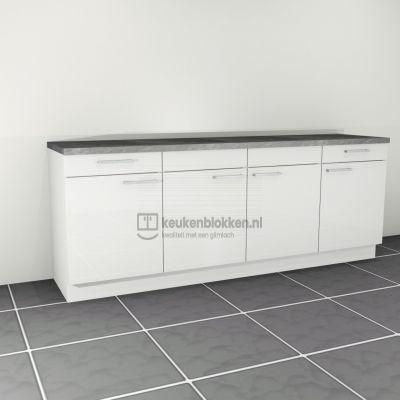 Keukenblok zonder spoelbak met lades 2.40 m breed - Alpine wit hoogglans