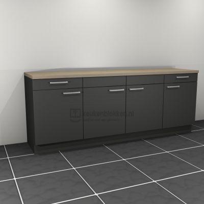 Keukenblok zonder spoelbak met lades 2.40 m breed - Carbon zwart
