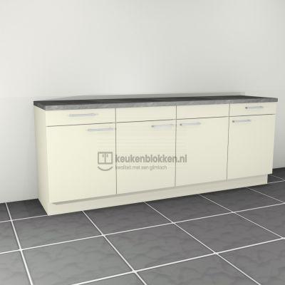Keukenblok zonder spoelbak met lades 2.40 m breed - Magnolia