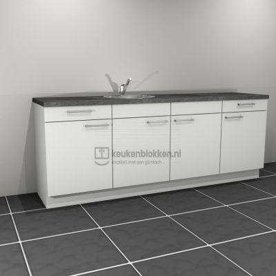 Keukenblok met spoelbak links met lades 2.40 m breed - Alpine wit
