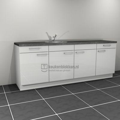 Keukenblok met spoelbak links met lades 2.40 m breed - Alpine wit hoogglans