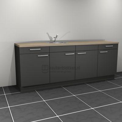 Keukenblok met spoelbak links met lades 2.40 m breed - Carbon zwart