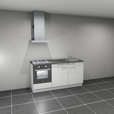 Keukenblok met apparatuur, gaskookplaat, spoelbak rechts 1.80 m breed - Alpine wit.