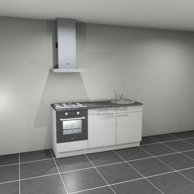 Keukenblok met apparatuur, gaskookplaat, spoelbak rechts 1.80 m breed - Alpine wit hoogglans