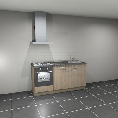 Keukenblok met apparatuur, gaskookplaat, spoelbak rechts 1.80 m breed - Eiken zand