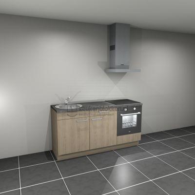 Keukenblok met apparatuur, inductiekookplaat, spoelbak links 1.80 m breed - Eiken zand