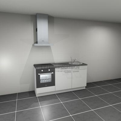 Keukenblok met apparatuur, inductiekookplaat, spoelbak rechts 1.80 m breed - Alpine wit