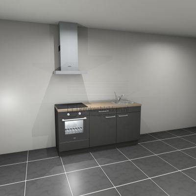 Keukenblok met apparatuur, inductiekookplaat, spoelbak rechts 1.80 m breed - Carbon zwart