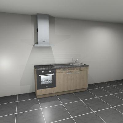 Keukenblok met apparatuur, inductiekookplaat, spoelbak rechts 1.80 m breed - Eiken zand