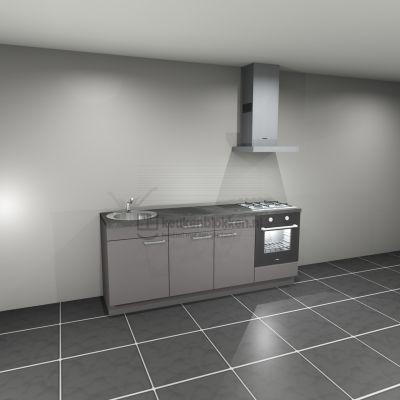 Keukenblok met apparatuur, gaskookplaat, spoelbak links 2.20 m breed - Onyx grijs