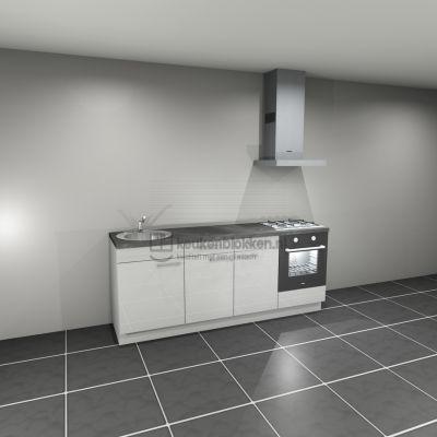 Keukenblok met apparatuur, gaskookplaat, spoelbak links 2.20 m breed - Alpine wit hoogglans