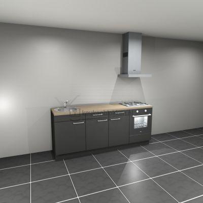 Keukenblok met apparatuur, gaskookplaat, spoelbak links 2.20 m breed - Carbon zwart