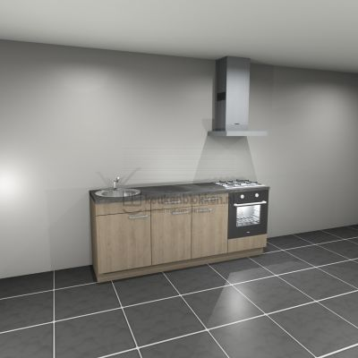 Keukenblok met apparatuur, gaskookplaat, spoelbak links 2.20 m breed - Eiken zand