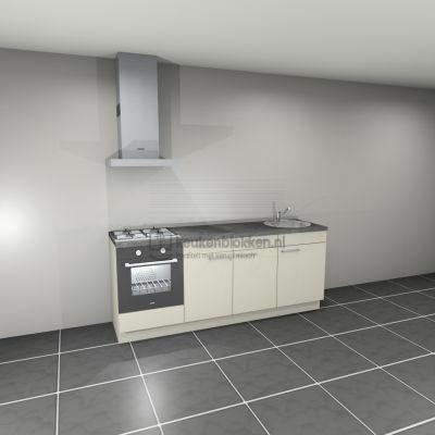 Keukenblok met apparatuur, gaskookplaat, spoelbak rechts 2.20 m breed - Magnolia