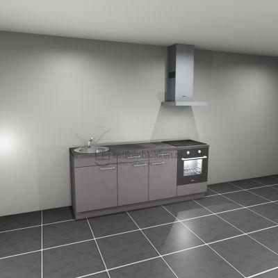 Keukenblok met apparatuur, inductiekookplaat, spoelbak links 2.20 m breed - Onyx grijs