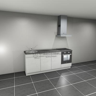 Keukenblok met apparatuur, inductiekookplaat, spoelbak links 2.20 m breed - Alpine wit hoogglans