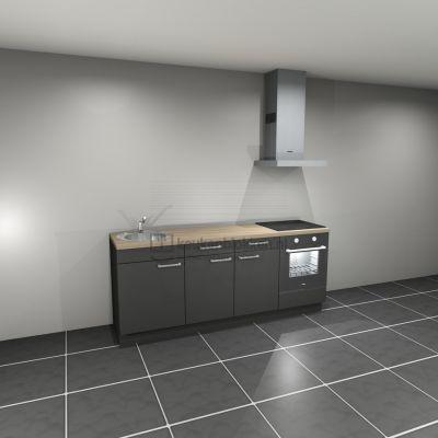 Keukenblok met apparatuur, inductiekookplaat, spoelbak links 2.20 m breed - Carbon zwart