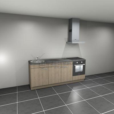 Keukenblok met apparatuur, inductiekookplaat, spoelbak links 2.20 m breed - Eiken zand