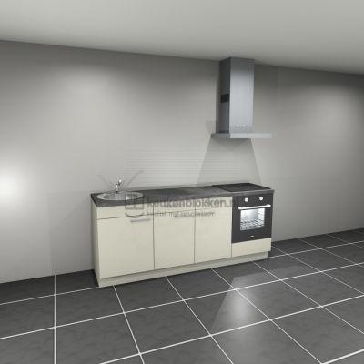Keukenblok met apparatuur, inductiekookplaat, spoelbak links 2.20 m breed - Magnolia