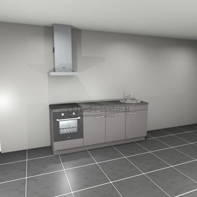 Keukenblok met apparatuur, inductiekookplaat, spoelbak rechts 2.20 m breed - Onyx grijs