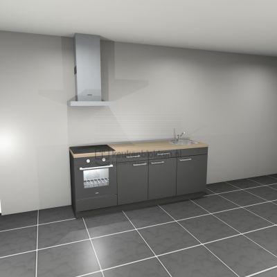 Keukenblok met apparatuur, inductiekookplaat, spoelbak rechts 2.20 m breed - Carbon zwart