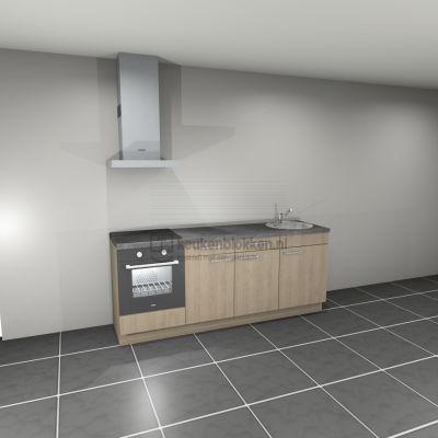 Keukenblok met apparatuur, inductiekookplaat, spoelbak rechts 2.20 m breed - Eiken zand