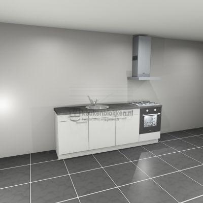 Keukenblok met apparatuur, gaskookplaat, spoelbak middenlinks 2.40 m breed - Alpine wit