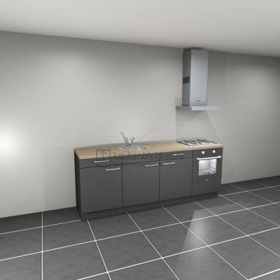 Keukenblok met apparatuur, gaskookplaat, spoelbak middenlinks 2.40 m breed - Carbon zwart