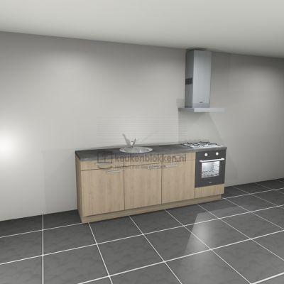 Keukenblok met apparatuur, gaskookplaat, spoelbak middenlinks 2.40 m breed - Eiken zand
