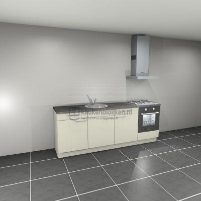 Keukenblok met apparatuur, gaskookplaat, spoelbak middenlinks 2.40 m breed - Magnolia